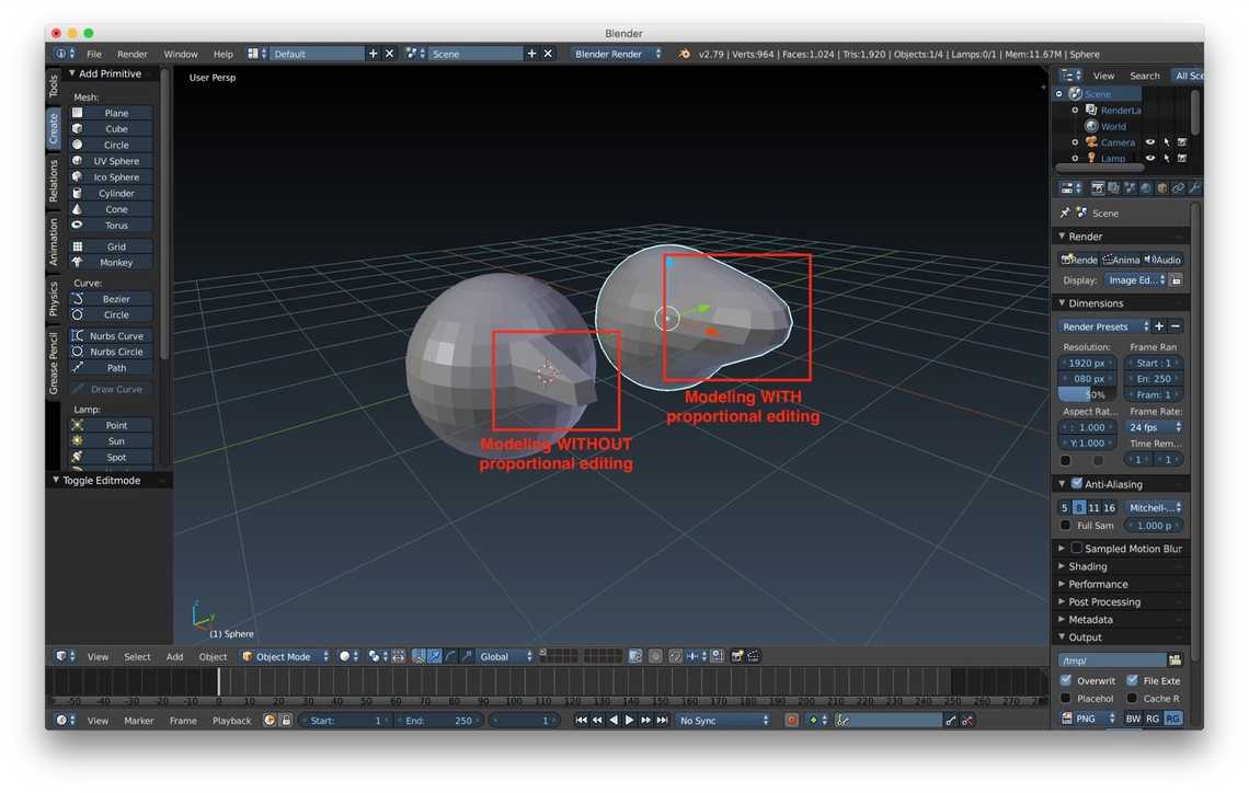 Two meshes modified with and without the proportional editing enable