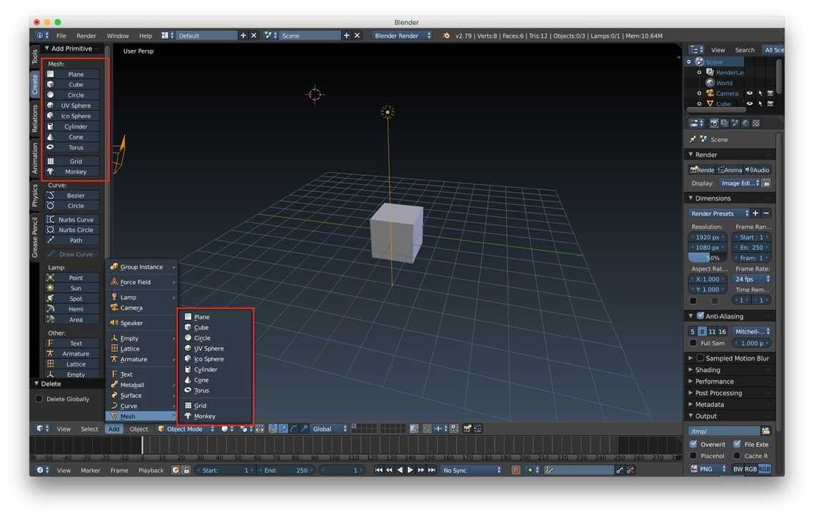 How to create primitive meshes