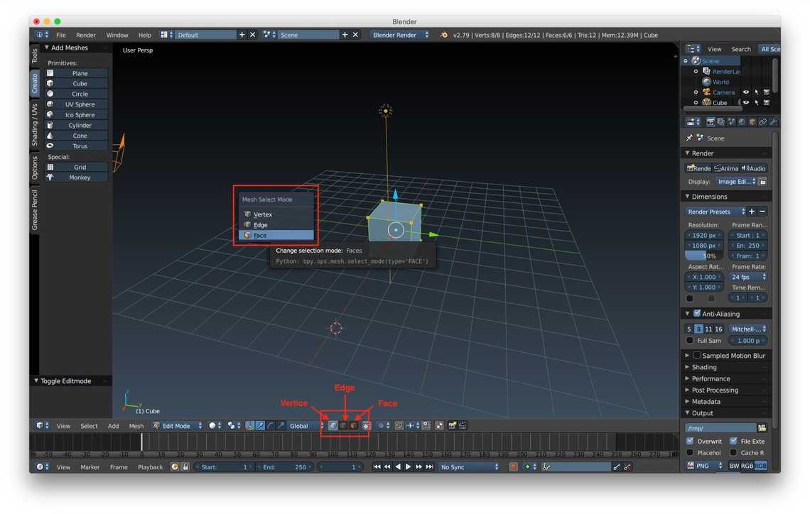 How to select edges, faces and vertices
